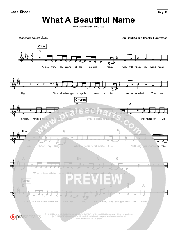 What A Beautiful Name (Simplified) Lead Sheet (Hillsong Worship)
