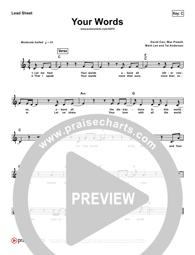 Your Words (Simplified) Lead Sheet (Third Day)