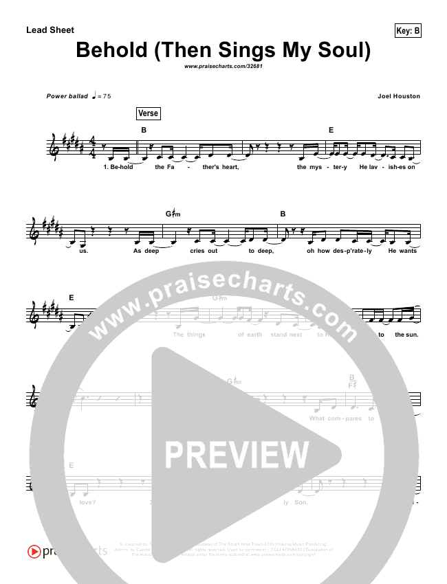 Behold (Then Sings My Soul) (Simplified) Lead Sheet