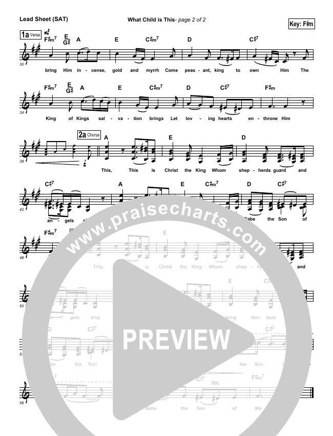 What Child Is This Lead Sheet (SAT) (Third Day)