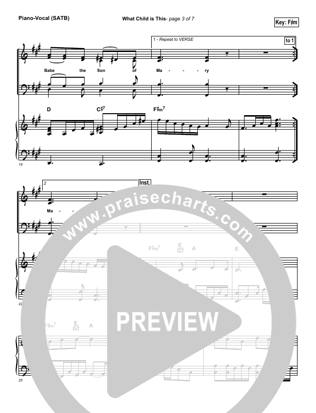 What Child Is This Piano/Vocal (SATB) (Third Day)