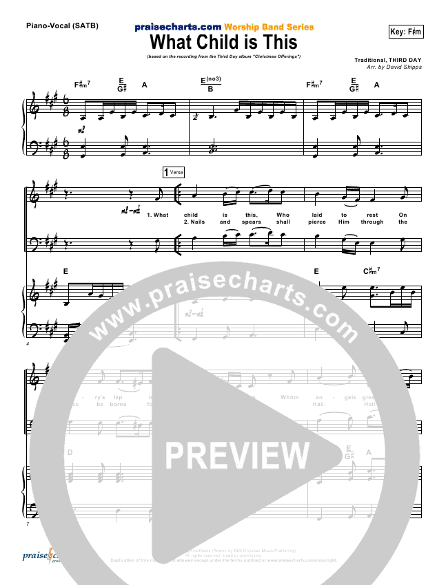 What Child Is This Piano/Vocal Pack (Third Day)