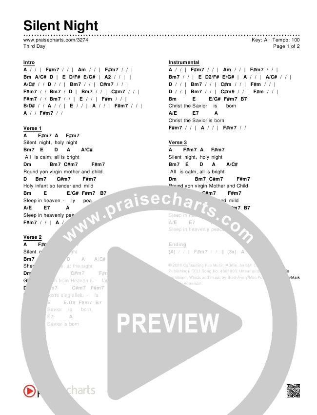 Silent Night Chords - Third Day | PraiseCharts