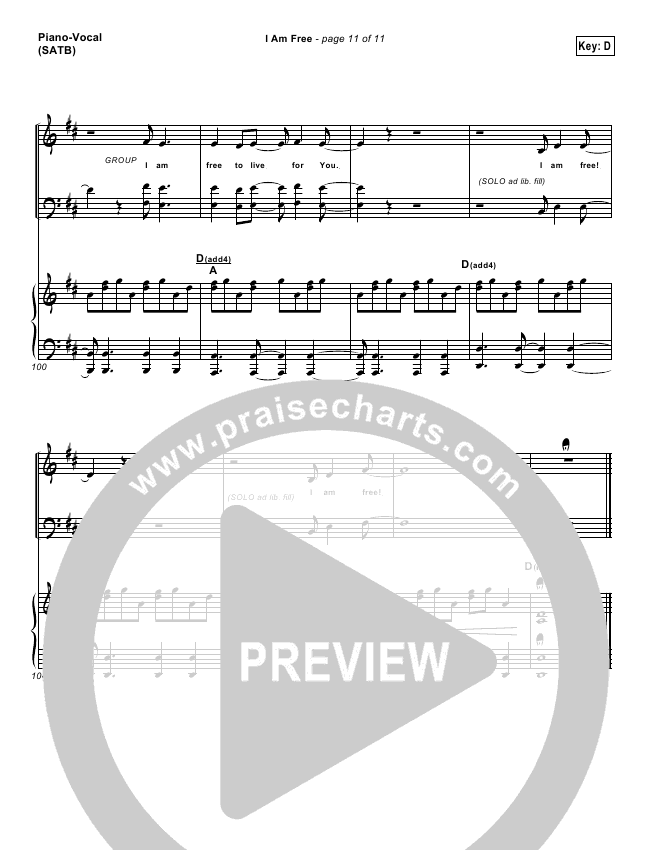 I Am Free Lead Sheet Pianovocal Promise Keepers Praisecharts