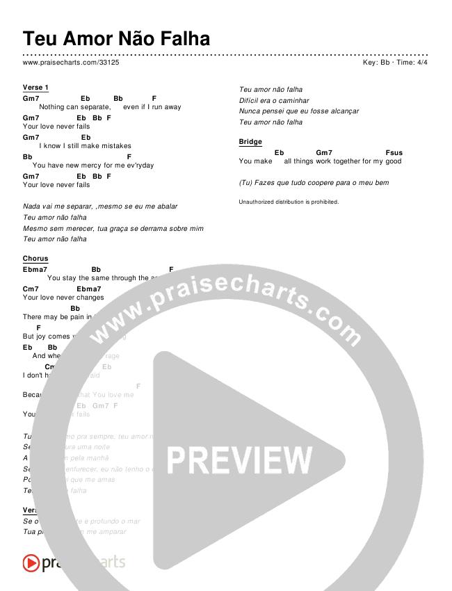 Teu Amor Não Falha (Simplified) Chords & Lyrics ()