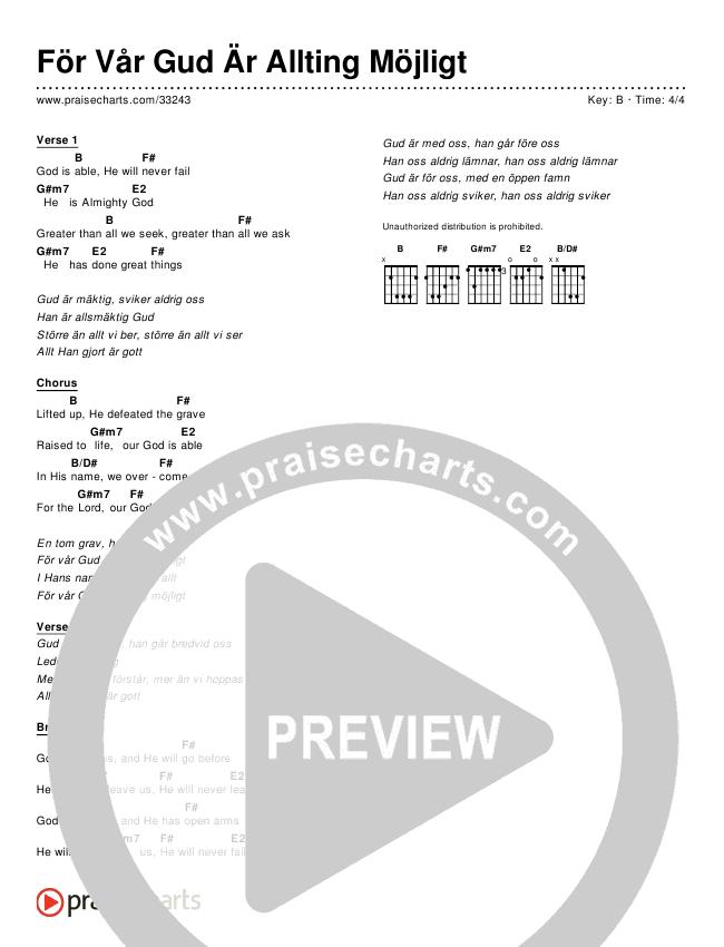För Vår Gud Är Allting Möjligt (Simplified) Chord Chart ()