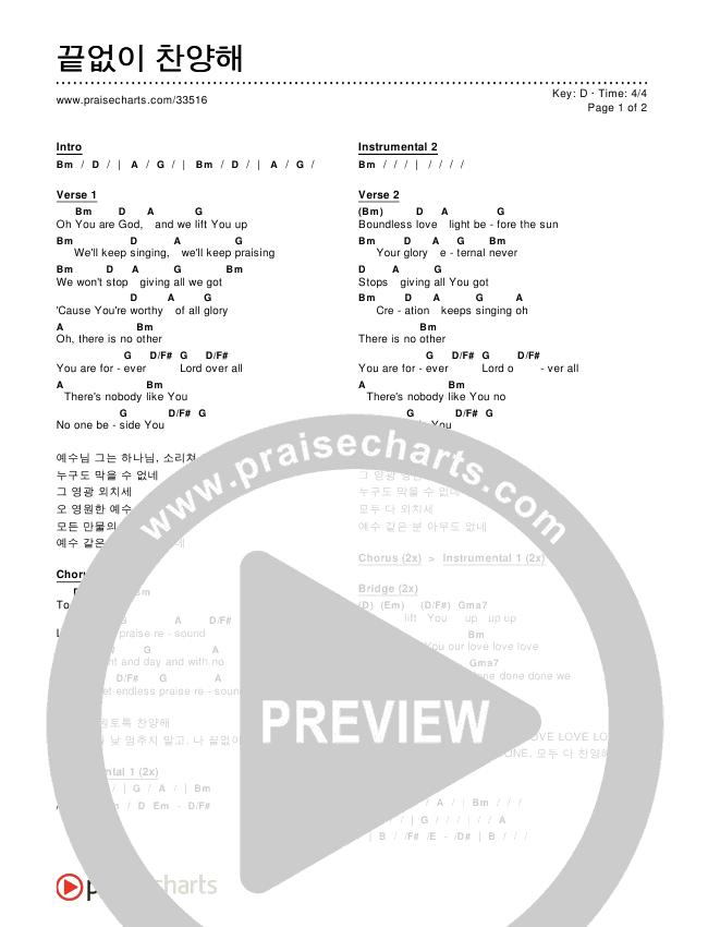 끝없이 찬양해 (Endless Praise) Chords & Lyrics ()