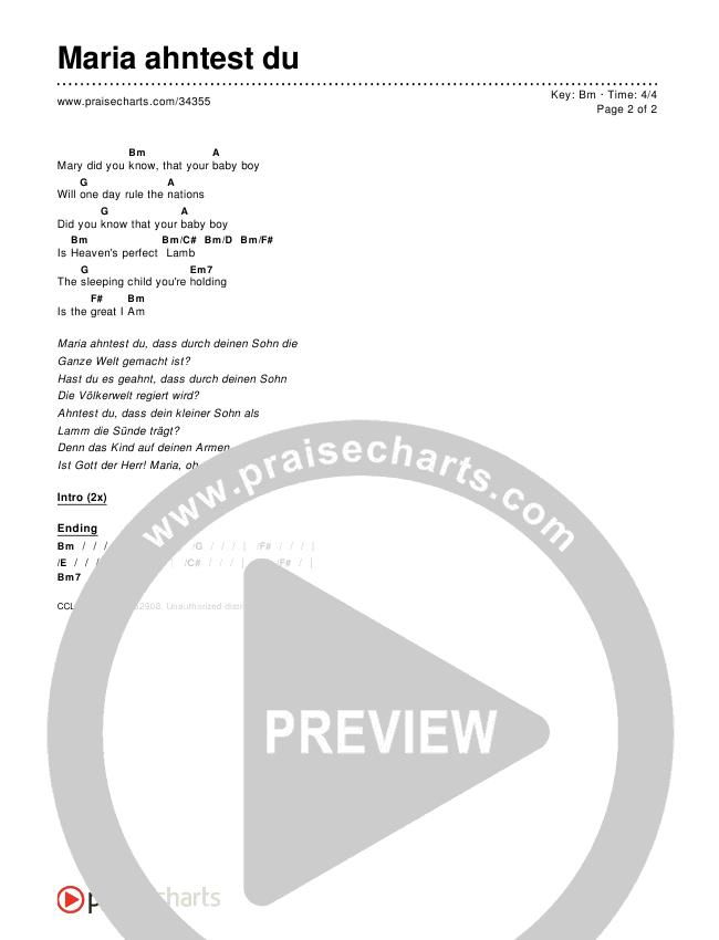 Maria ahntest du (Mary Did You Know) Chords & Lyrics ()