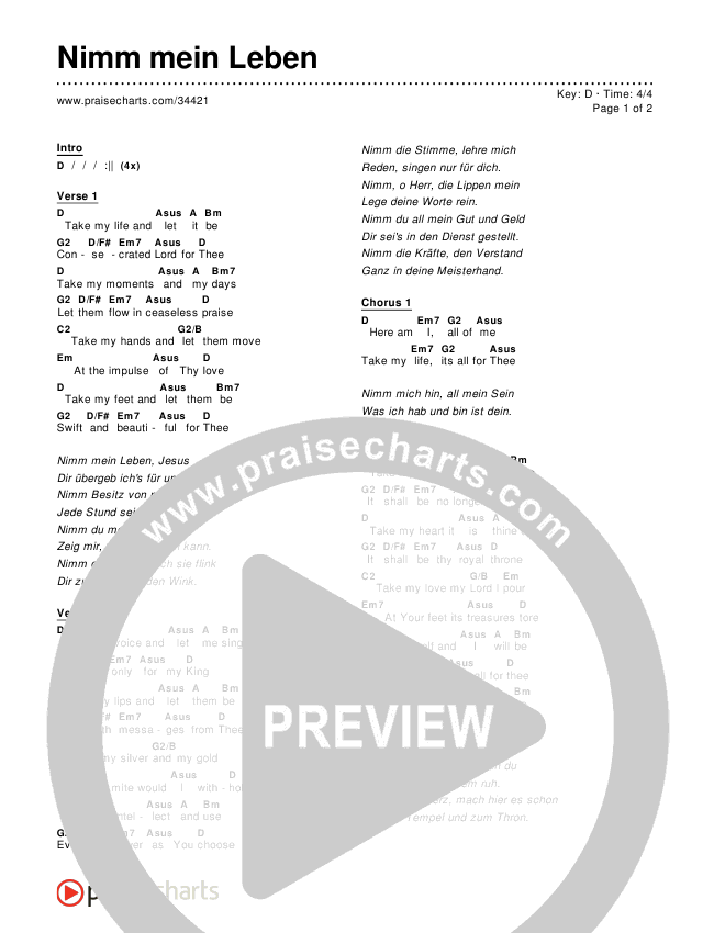 Nimm mein Leben Chords & Lyrics ()