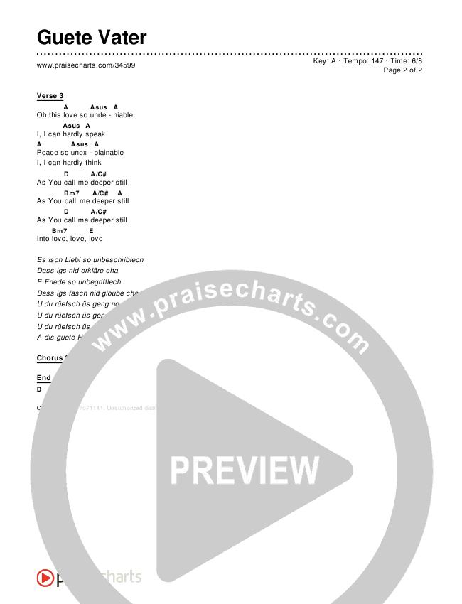 Guete Vater (Good Good Father) Chords & Lyrics ()