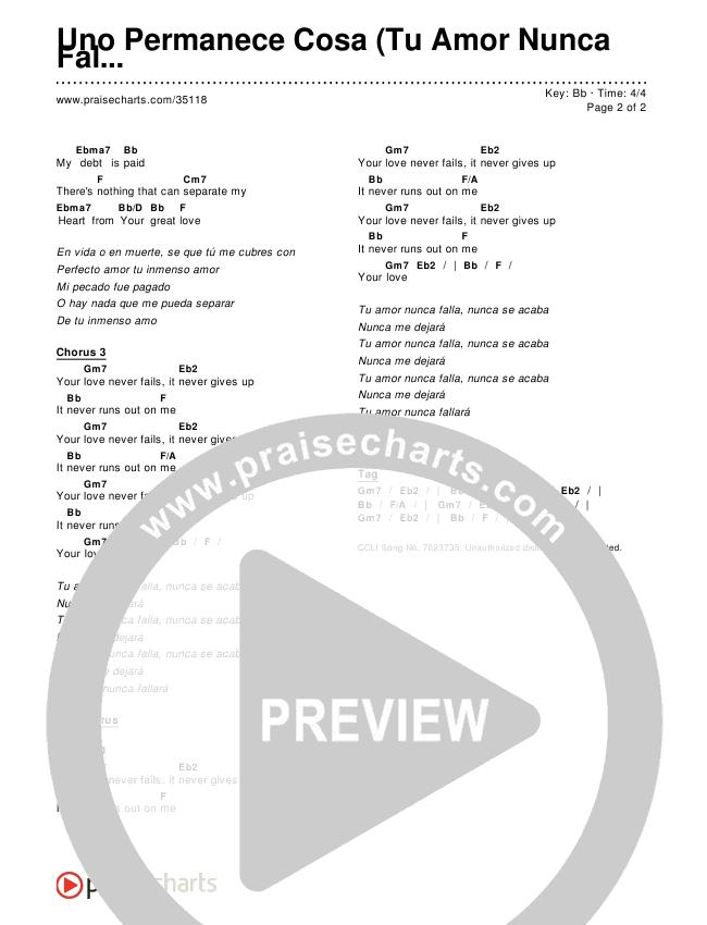 Uno Permanece Cosa (Tu Amor Nunca Falla) Chords & Lyrics ()