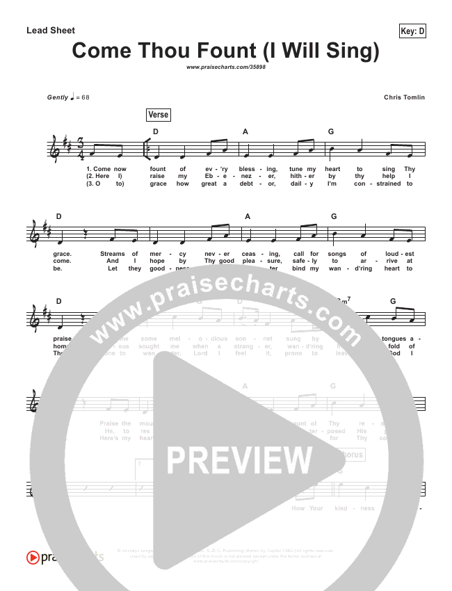 Come Thou Fount (I Will Sing) (Simplified) Lead Sheet (Chris Tomlin)