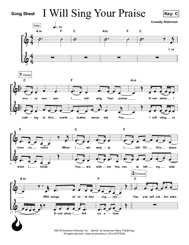 I Will Sing Your Praise Lead Sheet (Ascension Worship)