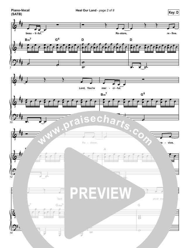 Heal Our Land Piano/Vocal (SATB) (Kari Jobe)
