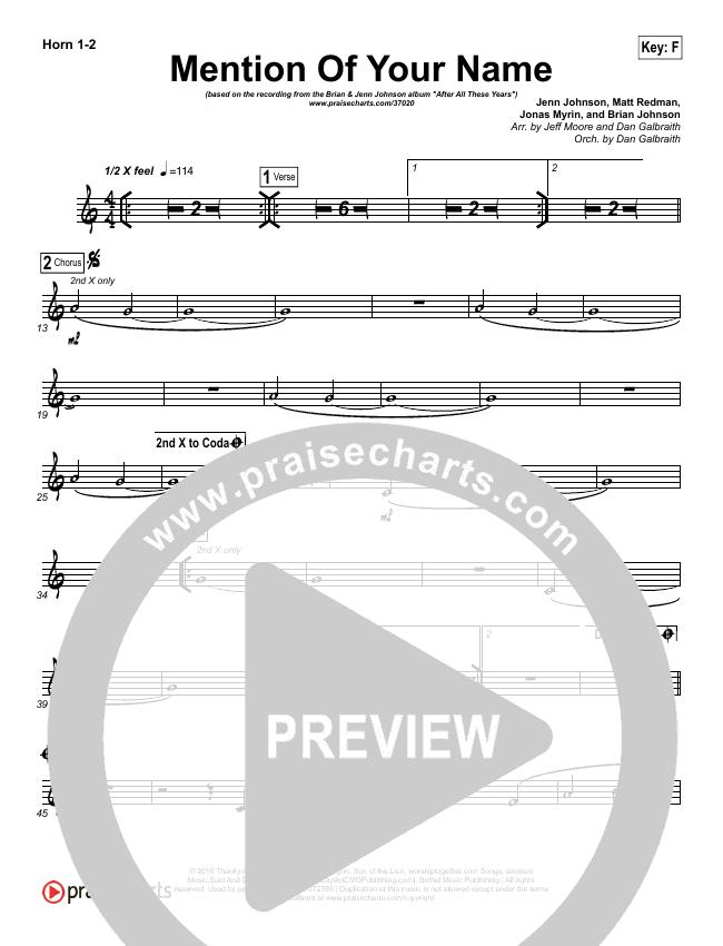 Mention Of Your Name  Brass Pack (Brian Johnson / Jenn Johnson)