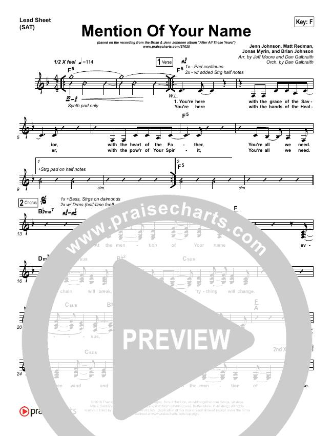 Mention Of Your Name  Lead Sheet (SAT) (Brian Johnson / Jenn Johnson)