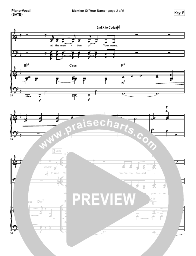 Mention Of Your Name  Piano/Vocal (SATB) (Brian Johnson / Jenn Johnson)