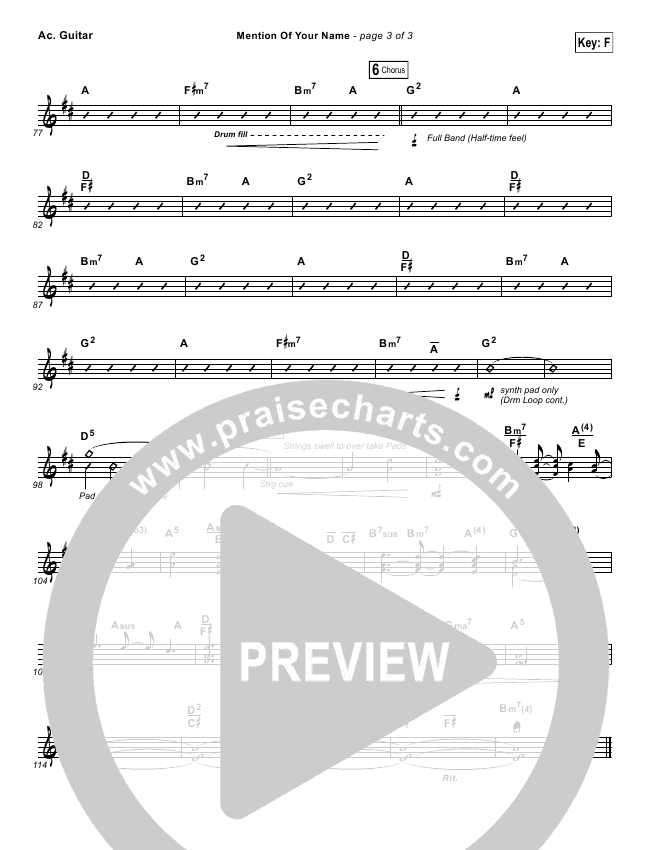Mention Of Your Name  Rhythm Chart (Brian Johnson / Jenn Johnson)