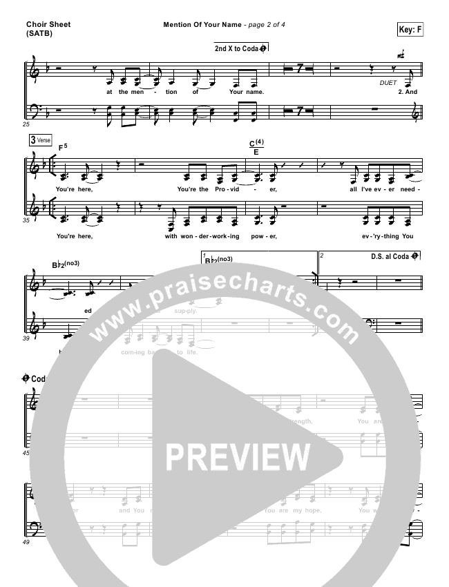 Mention Of Your Name  Choir Sheet (SATB) (Brian Johnson / Jenn Johnson)