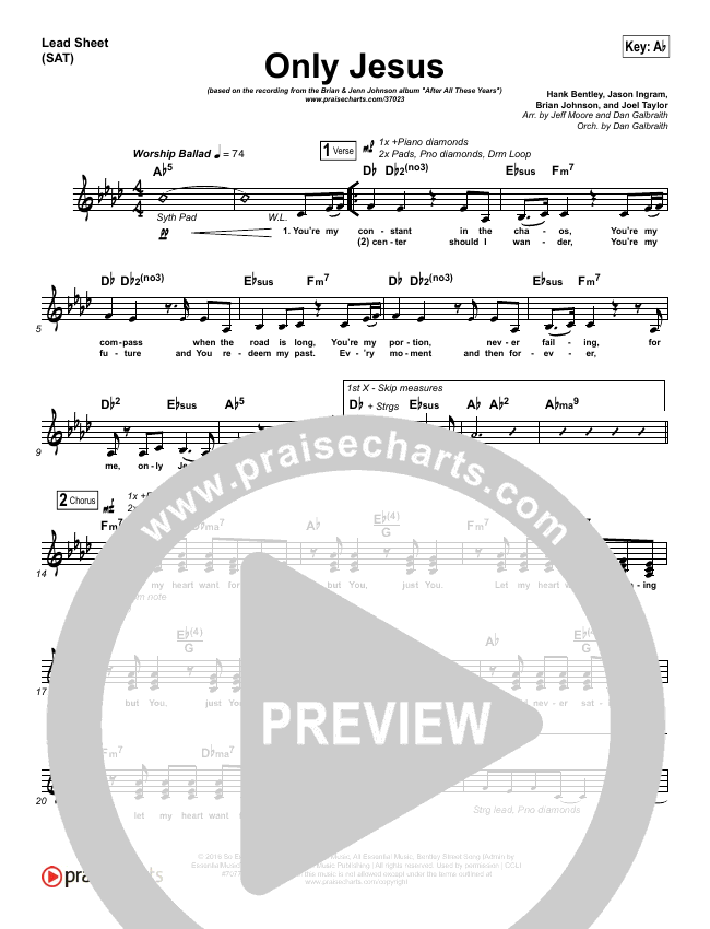 Only Jesus Lead Sheet (SAT) (Brian Johnson / Jenn Johnson)