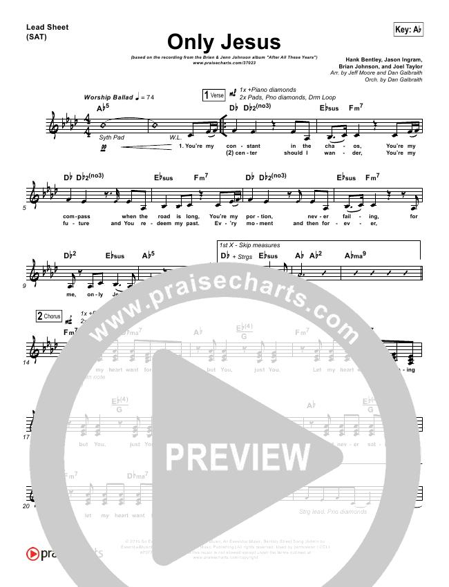 Only Jesus Lead Sheet Pianovocal Brian Johnson Jenn Johnson