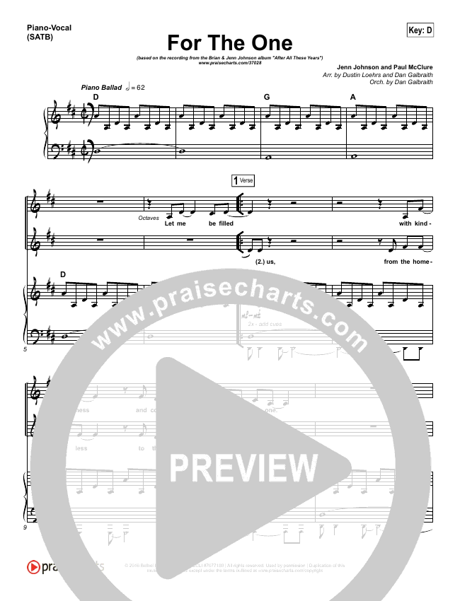 For The One Piano/Vocal (SATB) (Brian Johnson / Jenn Johnson)