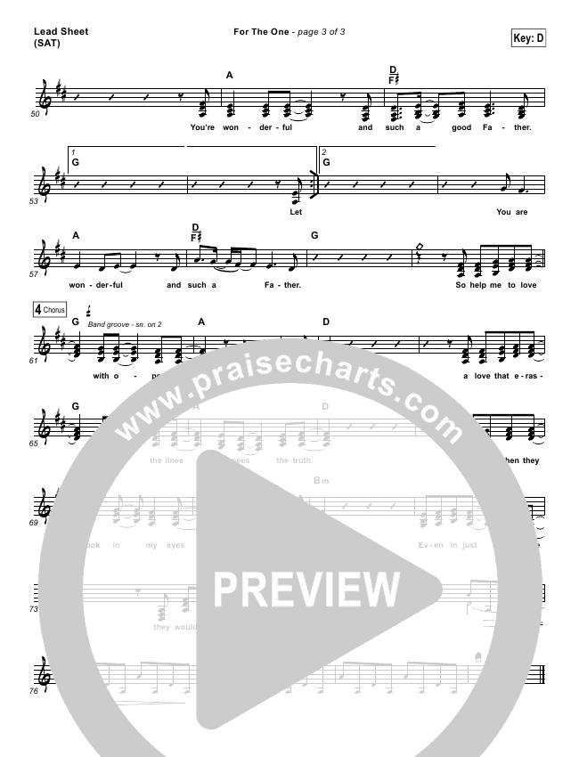 For The One Lead & Piano/Vocal (Brian Johnson / Jenn Johnson)