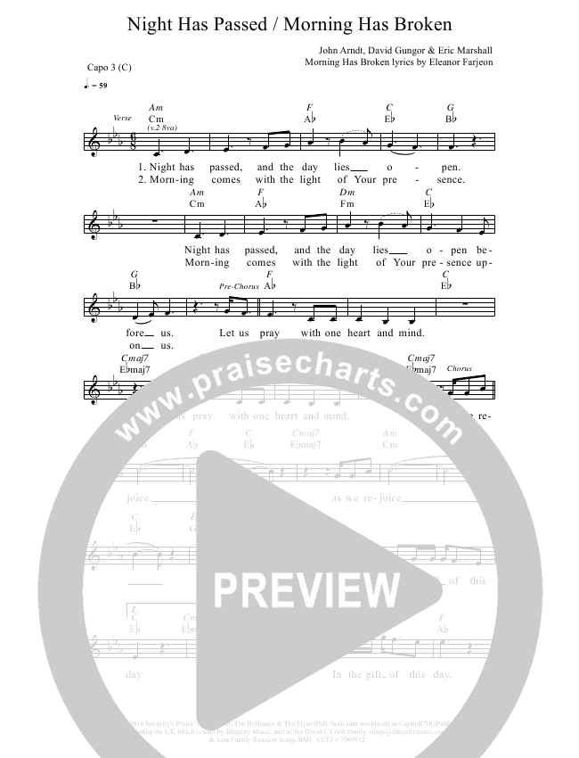 Night Has Passed Morning Has Broken Lead Sheet Pianovocal The