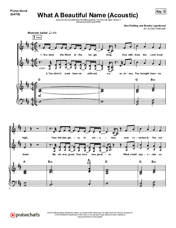 What A Beautiful Name (Acoustic) Piano/Vocal (SATB) (Hillsong Worship)
