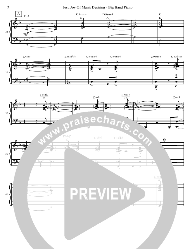 Jesu Joy Of Man's Desiring (Instrumental) Piano Sheet (David Arivett)