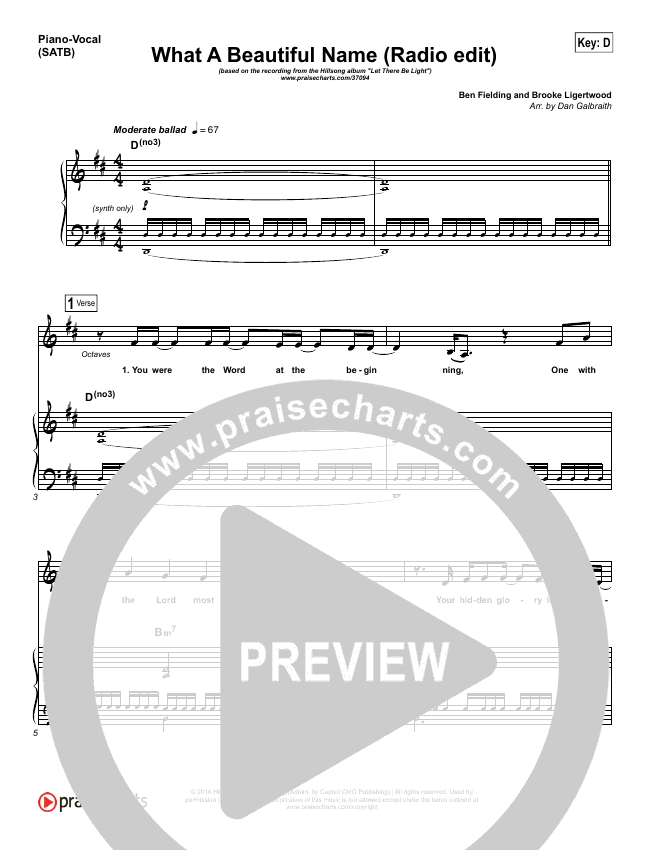 What A Beautiful Name (Radio) Piano/Vocal (SATB) (Hillsong Worship)