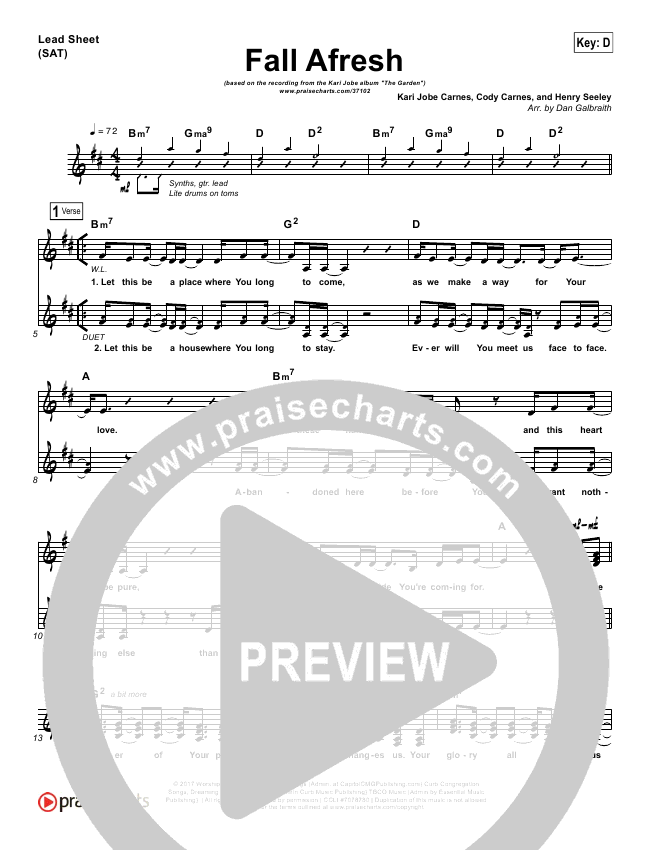Fall Afresh Lead Sheet & Piano/Vocal - Kari Jobe   PraiseCharts
