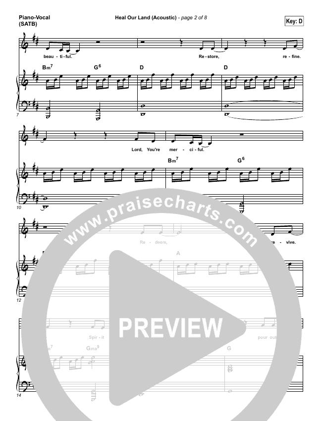 Heal Our Land (Acoustic) Piano/Vocal (SATB) (Kari Jobe)