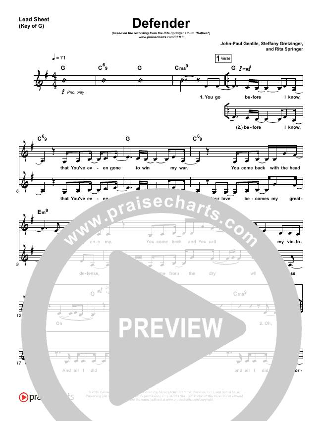 Defender Lead Sheet (Melody) (Rita Springer)