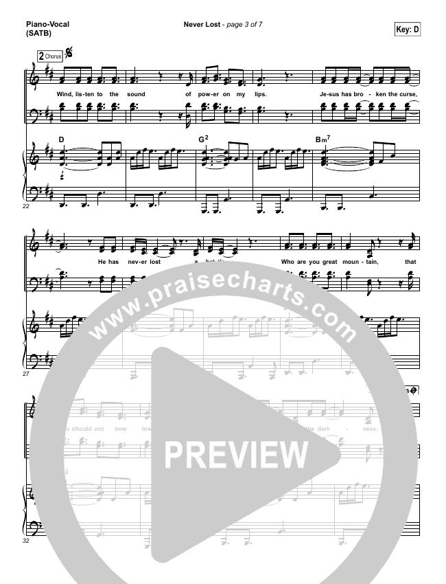 Never Lost Piano/Vocal (SATB) (Rita Springer)