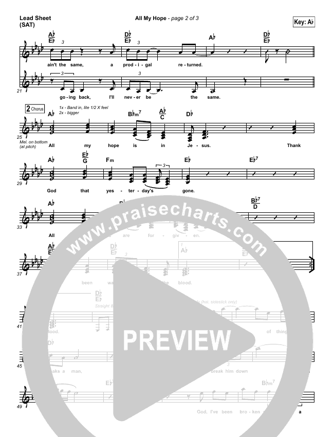 All My Hope Lead & Piano/Vocal (David Crowder)