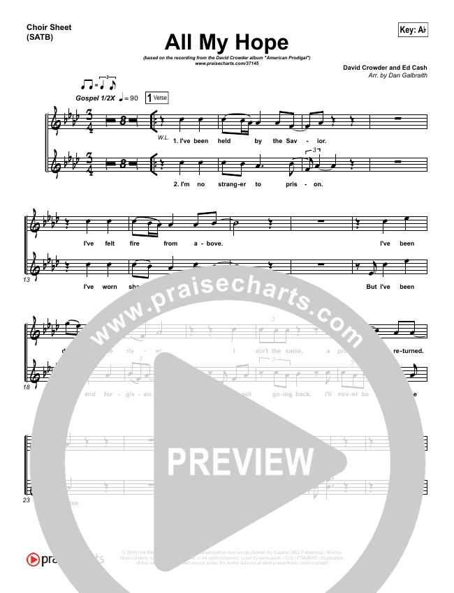 All My Hope Choir Sheet Satb David Crowder Praisecharts