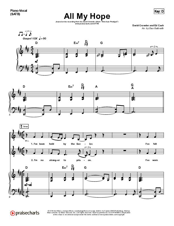 All My Hope Piano/Vocal (SATB) (David Crowder)