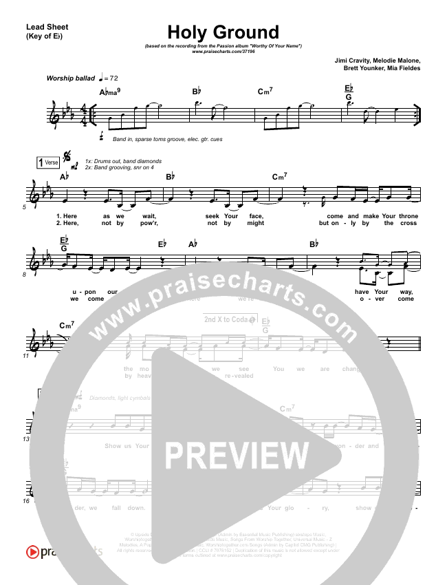 Holy Ground Lead Sheet (Melody) (Passion / Melodie Malone)