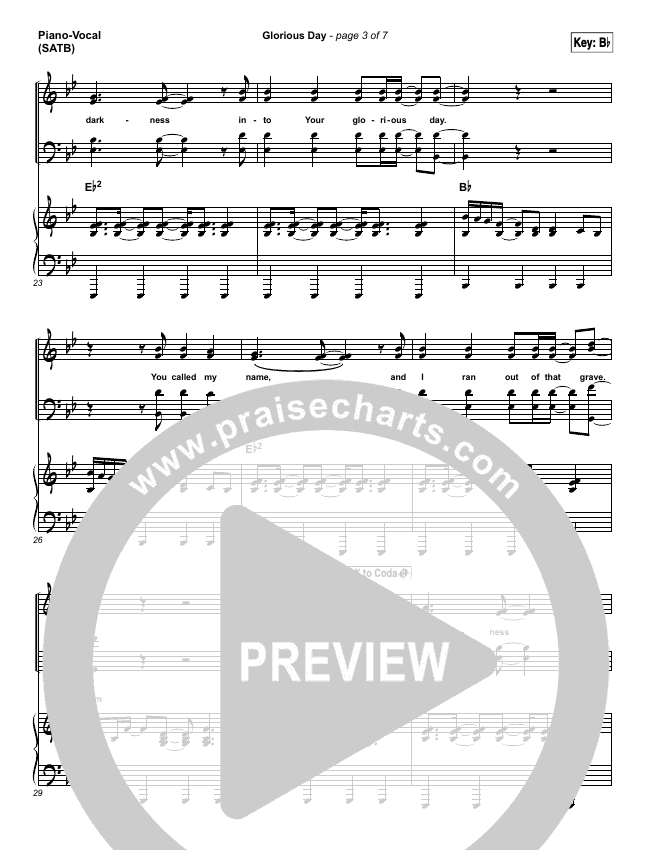 Glorious Day Piano/Vocal (SATB) (Passion / Kristian Stanfill)