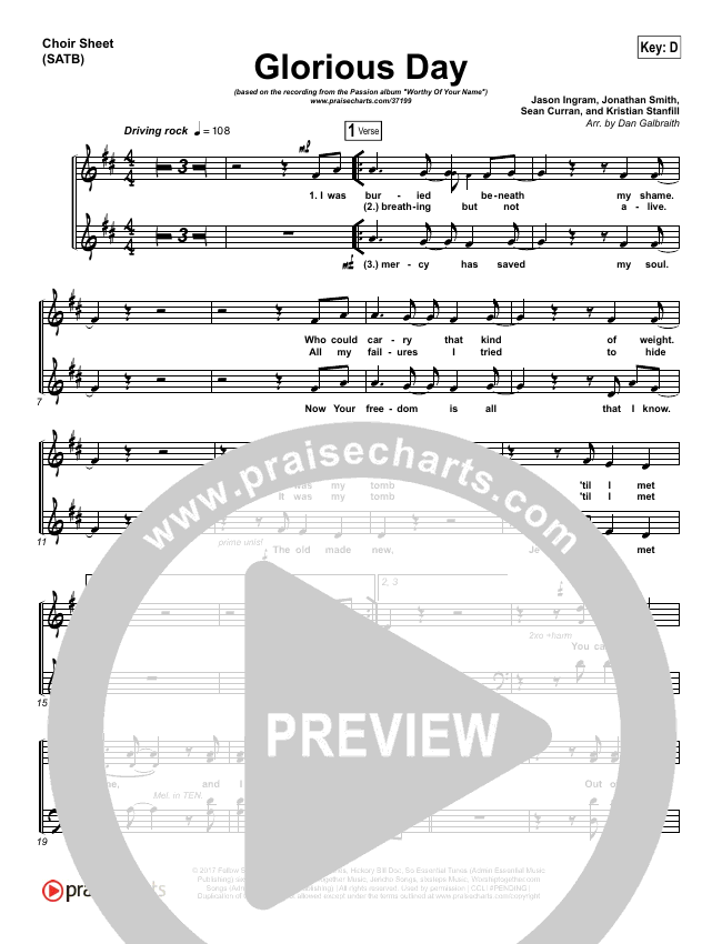 Glorious Day Choir Sheet (SATB) (Passion / Kristian Stanfill)