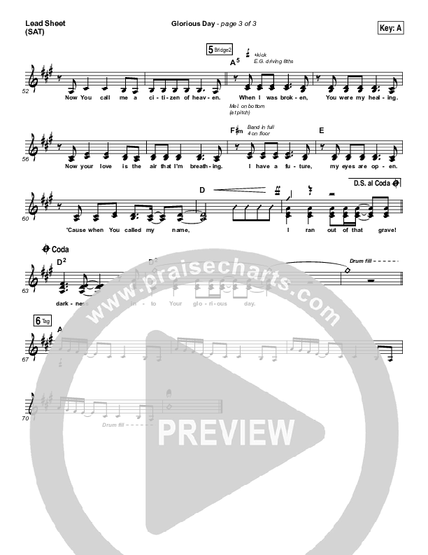 Glorious Day Lead Sheet (SAT) (Passion / Kristian Stanfill)