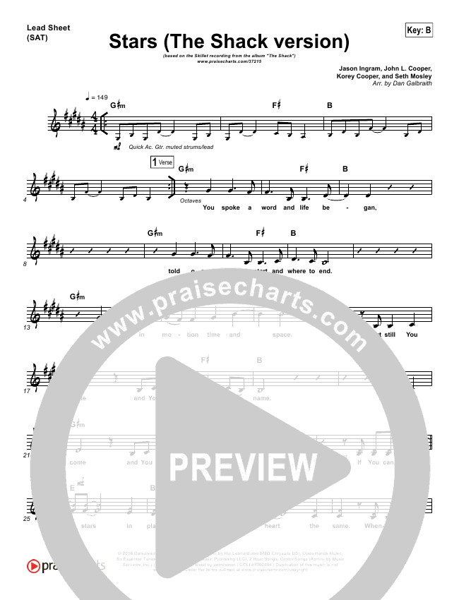 Stars Orchestration - Skillet | PraiseCharts