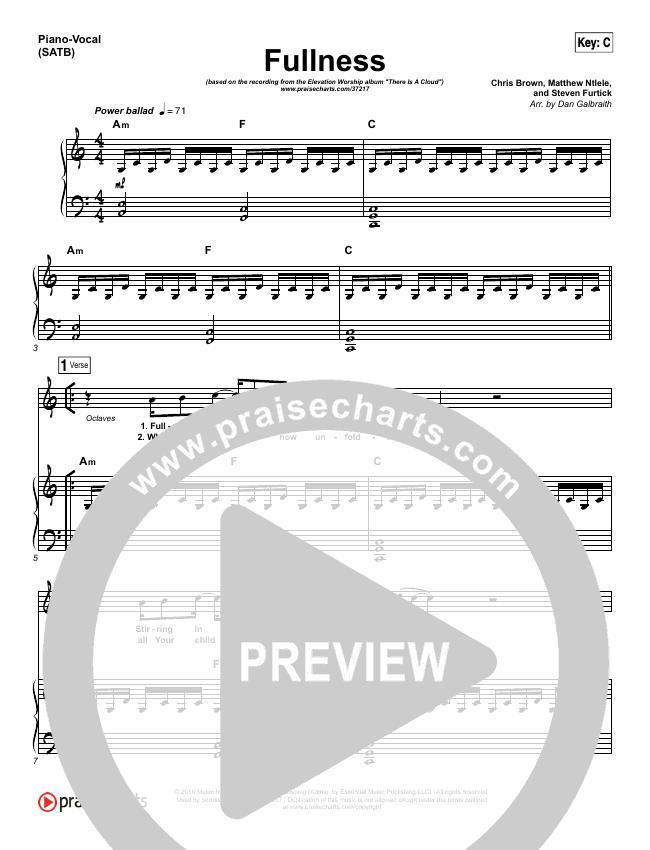 Fullness Piano/Vocal (SATB) (Elevation Worship)