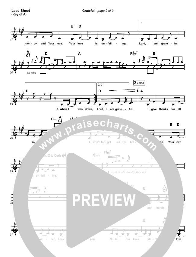 Grateful Lead Sheet (Melody) (Elevation Worship)