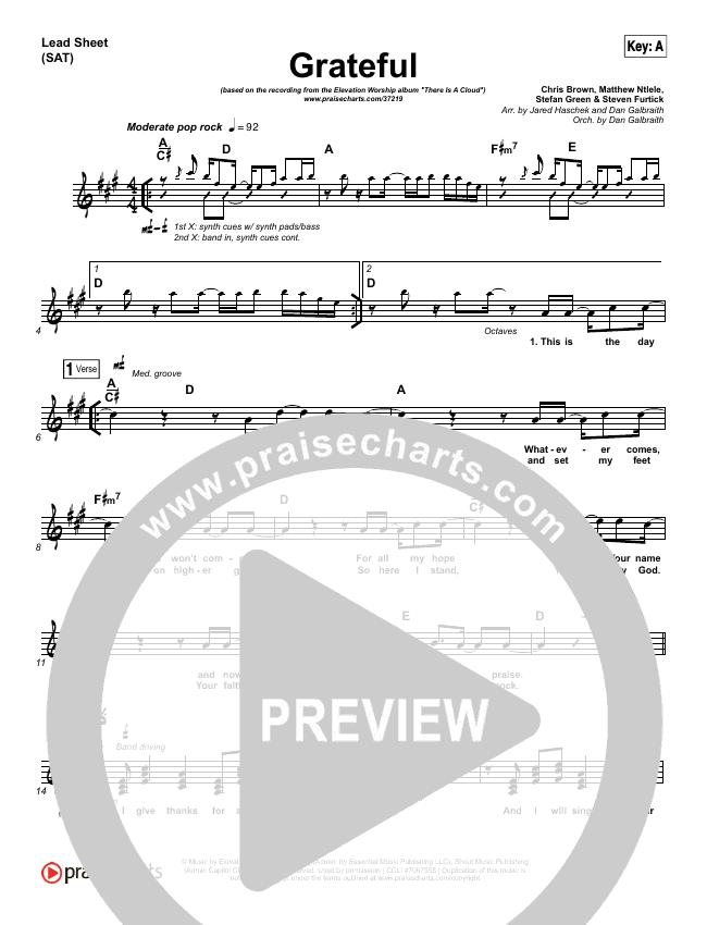 Grateful Lead Sheet (SAT) (Elevation Worship)