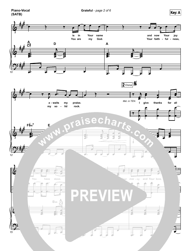 Grateful Piano/Vocal (SATB) (Elevation Worship)