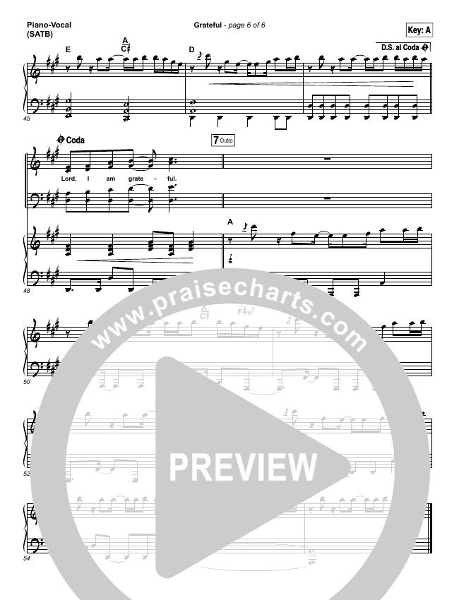 Grateful Lead Sheet Pianovocal Elevation Worship Praisecharts