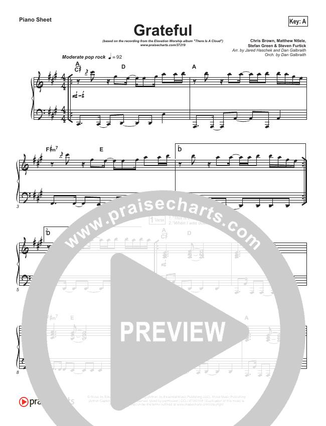 Grateful Piano Sheet (Elevation Worship)