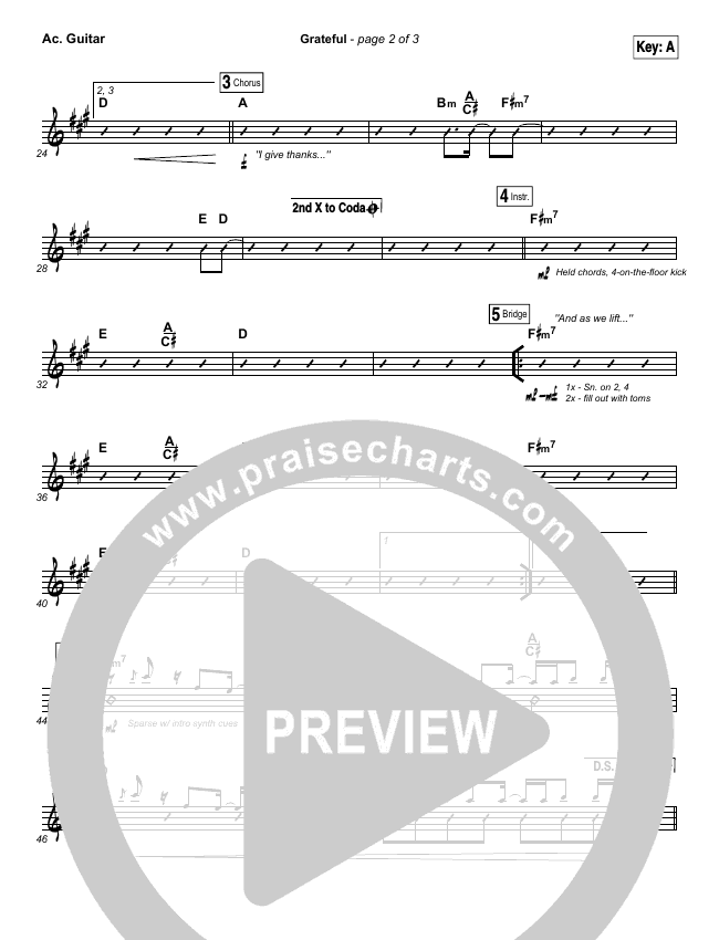 Grateful Rhythm Chart (Elevation Worship)